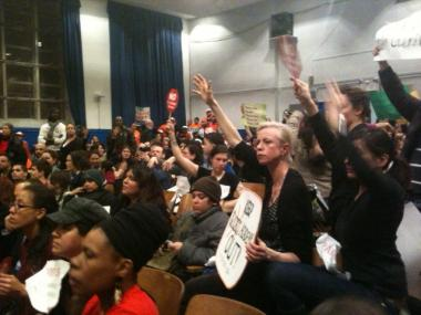 Hundreds attended hearings on Success Academy's South Williamsburg location earlier this year.