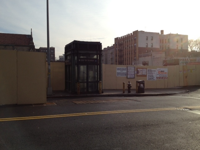 An inset along the shed now allows straphangers to enter the elevator.