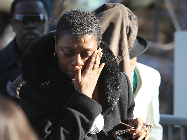 Mourners arrive at the  Crawford Memorial United Methodist Church for the funeral of Bronx teen Ramarley Graham on Sat., Feb. 18, 2012.