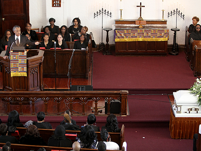 The Rev. Al Sharpton speaks at the funeral service for Bronx Ramarley Graham on Sat., Feb. 18, 2012.