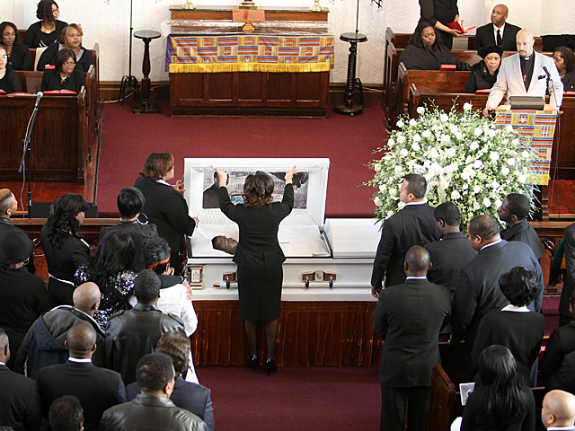 The casket of slain Bronx teen Ramarley Graham is closed at the Crawford Memorial United Methodist Church on Sat., Feb. 18, 2012.
