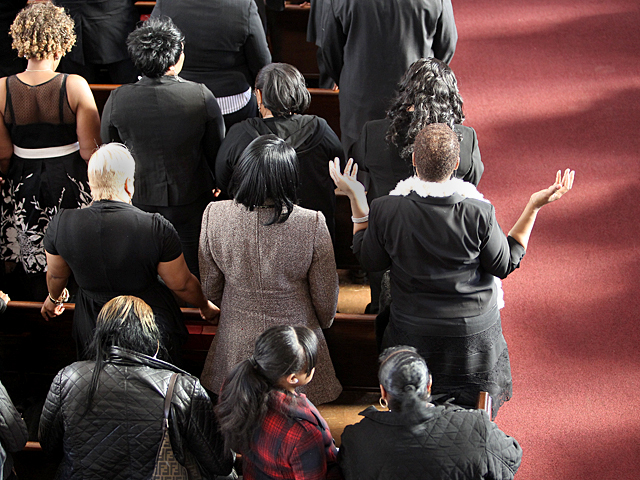 Mourners attend the funeral of Ramarley Graham at the Crawford Memorial United Methodist Church on  on Sat., Feb. 18, 2012.