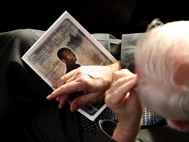 A mourner at the funeral of Bronx teen Ramarley Graham on Sat., Feb. 18, 2012.