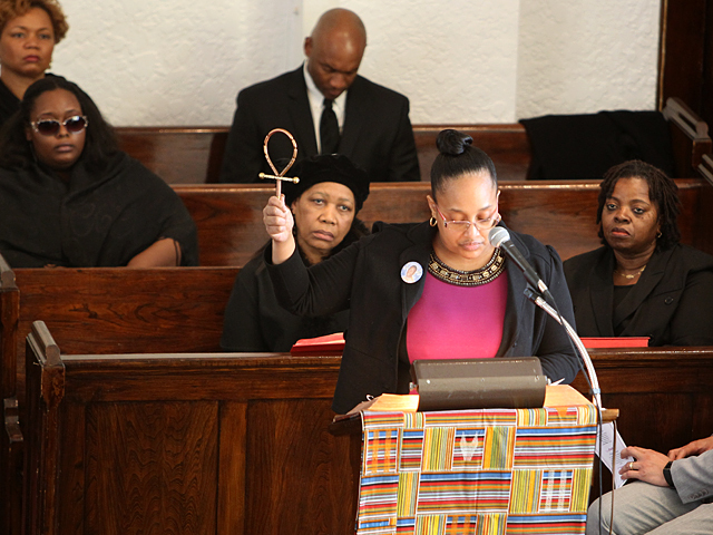 Friends and family speak at the funeral service for Bronx teenager Ramarley Graham on Sat., Feb. 18, 2012.