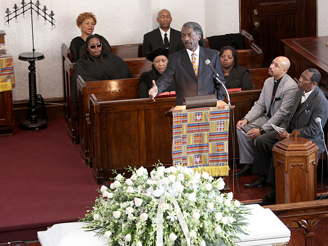 Speakers at the funeral service for Bronx teenager Ramarley Graham on Sat., Feb. 18, 2012.