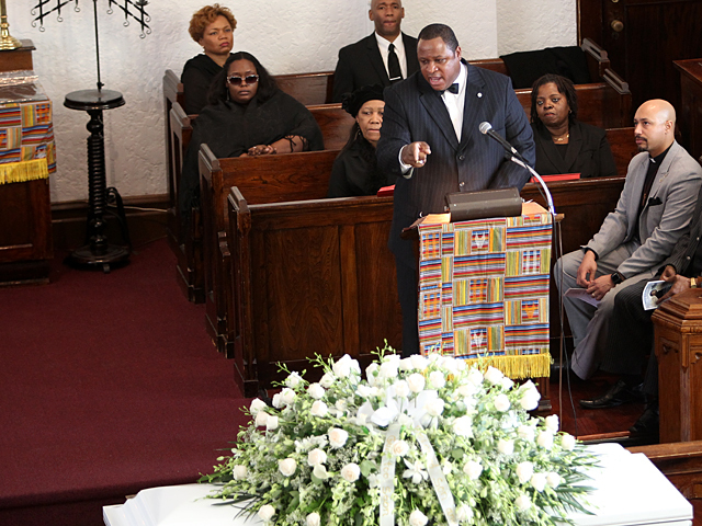 Speakers at the funeral service of slain Bronx teen Ramarley Graham on Sat., Feb. 18, 2012.