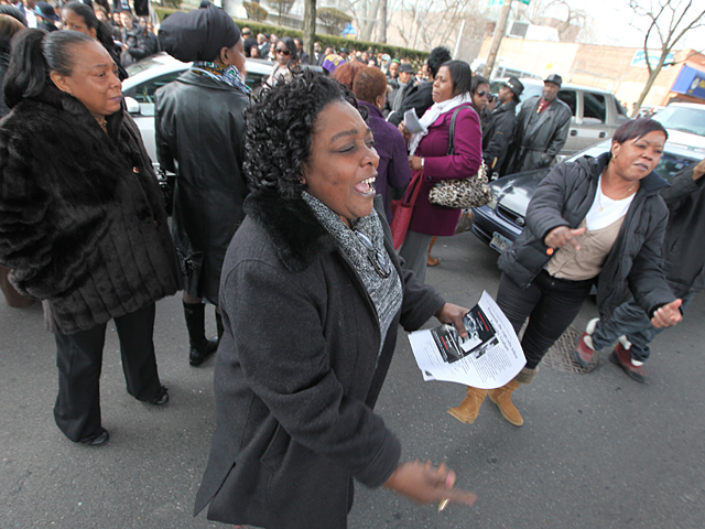 Mourners protest after the funeral of slain Bronx teen Ramarley Graham on Sat., Feb. 18, 2012.