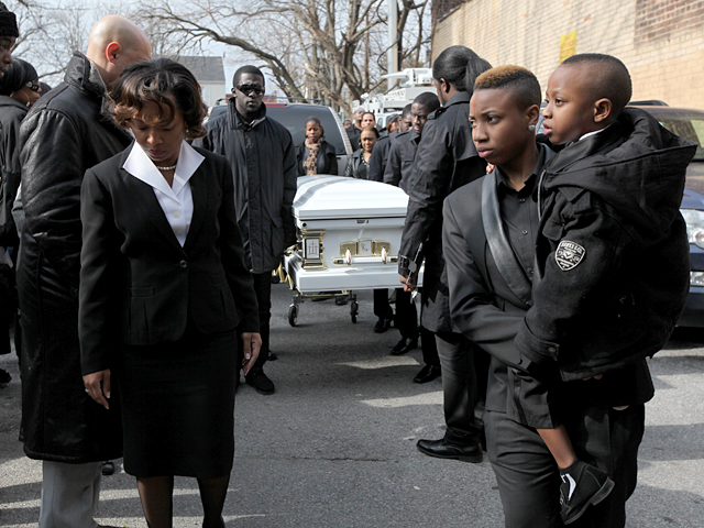Family and friends of Bronx teen Ramarley Graham prepare for the funeral procession at the Crawford Memorial United Methodist Church on Sat., Feb. 18, 2012.