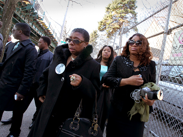 Mourners arrive for the funeral of Bronx teen Ramarley Graham at the Crawford Memorial United Methodist Church on Sat., Feb. 18, 2012.