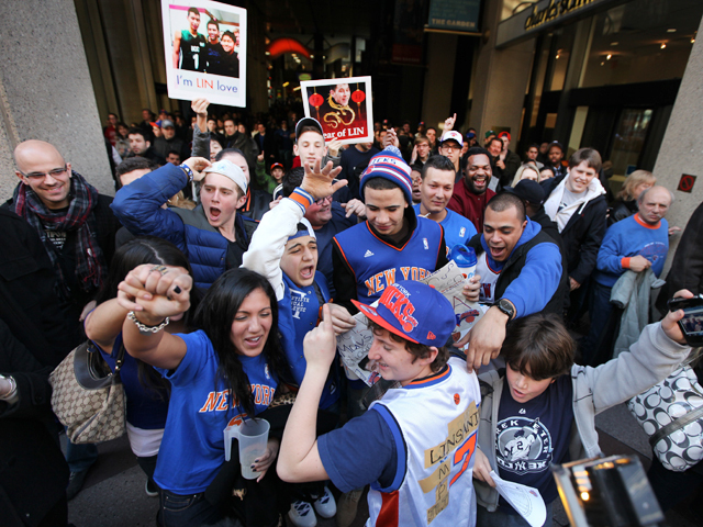 <p>&quot;Lin-sanity,&quot; erupts outside Madison Square Garden as Jeremy Lin and the New York Knicks beat reigning NBA World champs the Dallas Mavs on Feb. 19th, 2012.</p>