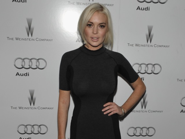 Actress Lindsay Lohan attends the party hosted by the Weinstein Company and Audi to Celebrate Awards Season at Chateau Marmont on January 11, 2012 in Los Angeles, California.