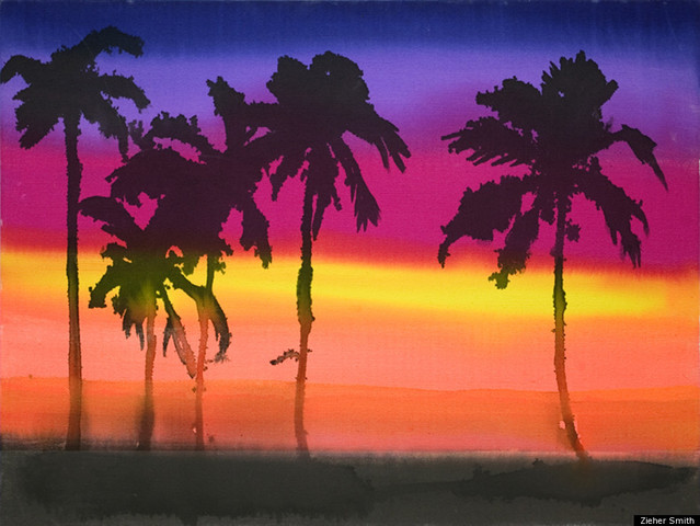 A image of a beach at sunset by Liz Markus, currently on display at the ZieherSmith Gallery.