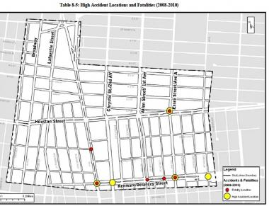 High-accident locations were found to include Delancey and Essex streets, Delancey and Chrystie streets and Kenmare Street and the Bowery.