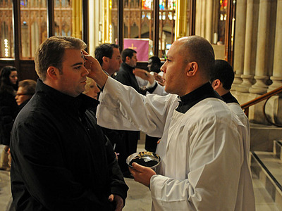 Clergy give out ashes at St. Patrick's Cathedral on Feb. 22. 2012.