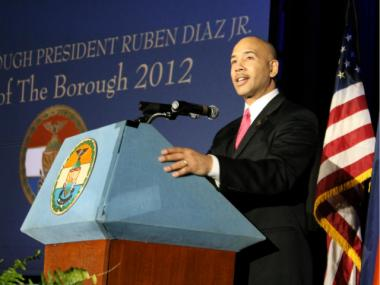 Bronx Borough President Ruben Diaz Jr. delivers his 2012 State of the Borough address on Feb. 23, 2012.