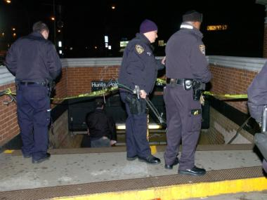Police gather at the Hunts Point Avenue subway station on Feb. 26, 2012 after a man was shot there.