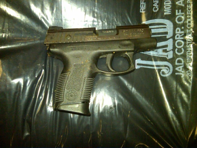 Police released a photo of the gun used in a shoot-out on the Lower East Side on Feb. 27, 2012, in which a police officer was saved by the ammo magazine on his belt.