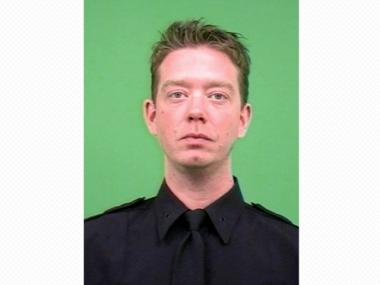 Police Officer Thomas Richards, who was being shot at by a suspect in the Lower East Side, was saved by an ammo magazine on his belt on Feb. 27, 2012.