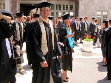 An image of Michael Ice at his graduation from University of Richmond. Ice was struck and killed by a 6 train on Saturday.