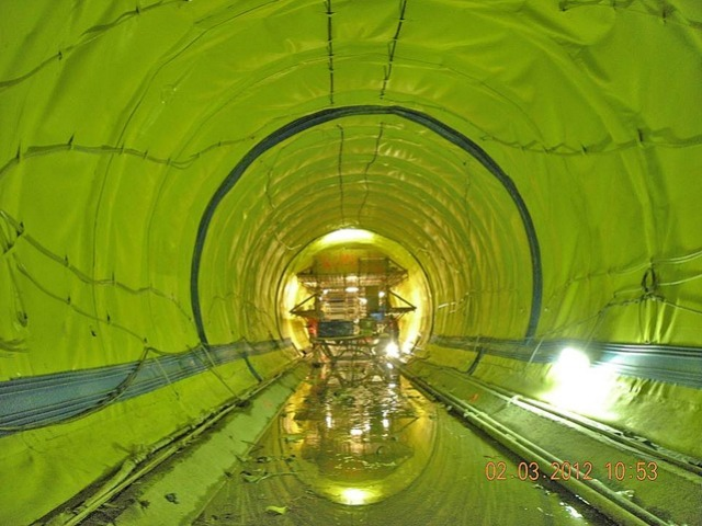 A green tunnel used for waterproofing of the one of the tunnels of the Second Avenue subway.