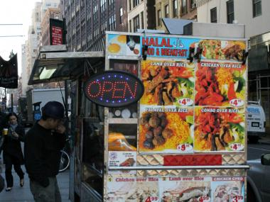The 34th Street Partnership says food carts with flashing signs, like this one, are too ugly for Midtown's streets.