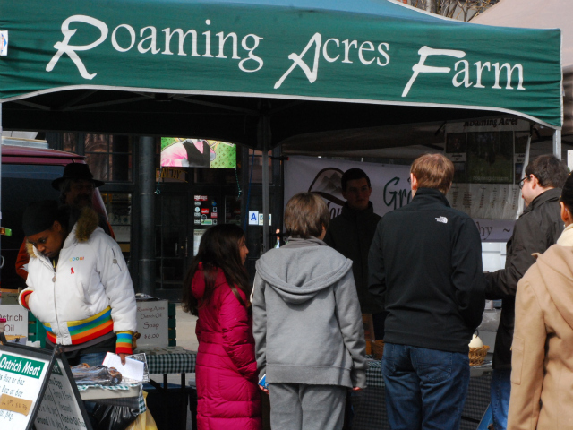 The Roaming Acres Farm stand at the Union Square Market sells the seasonal emu and ostrich eggs.