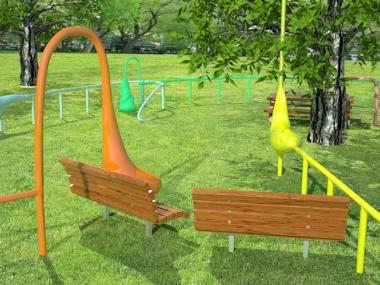 The exhibit will consist of a series of pipes that will wind through the park's center lawn and form amorphous blobs near seating areas. When passersby touch those blobs, they will emit various sounds.
