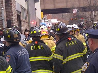 Firefighters rescued a man from a collapsed trench on East 122nd Street March 2, 2012.