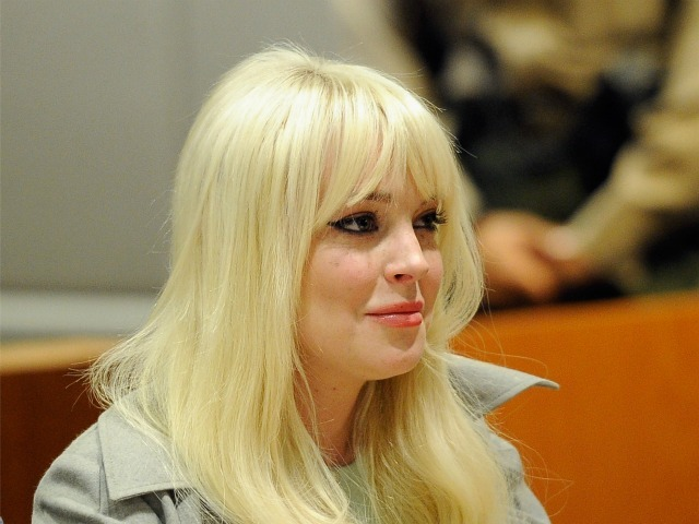 Lindsay Lohan sits in court for her probation update hearing at the Airport Courthouse on February 22, 2012 in Los Angeles, California.