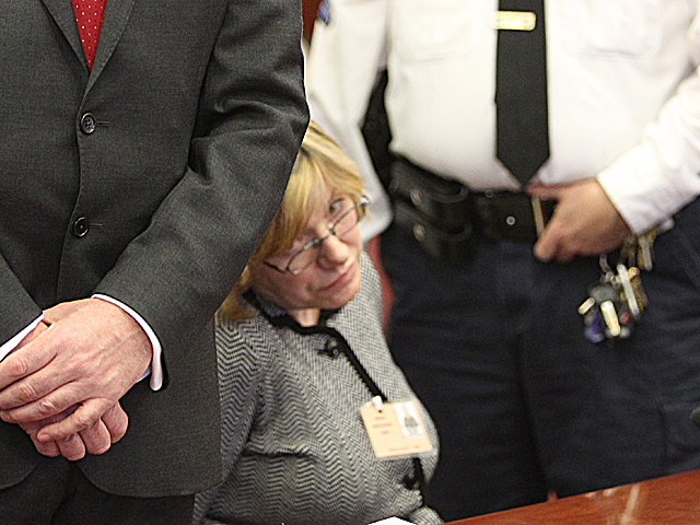 Anna Gristina, 44, appears in Manhattan Supreme Court to face a charge of promoting prostitution on Mar. 6th , 2012.
