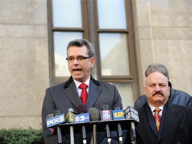 Attorney Peter Gleason (L), who represents accused millionaire madam Anna Gristina holds a press conference outside of Manhattan Supreme Court, Mar. 6, 2012. Vincent Parco (R) an Investigator on the case, stands beside him.