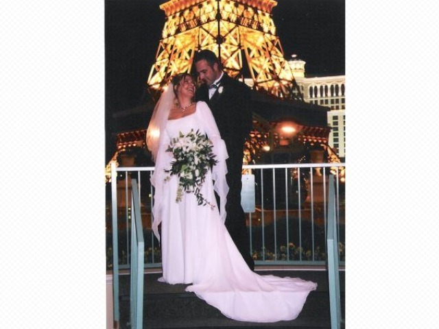 Anna Gristina and husband Kelvin Gorr at their Vegas wedding.