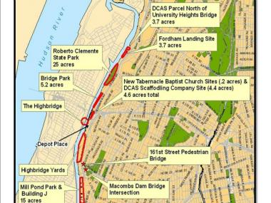Part of a map of the Harlem River that highlights key points along the proposed borough-long greenway.