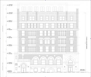 A working proposal of how East Harlem's long-abandoned Corn Exchange building might look after a $16 million renovation adds five floors to the existing two-story structure.