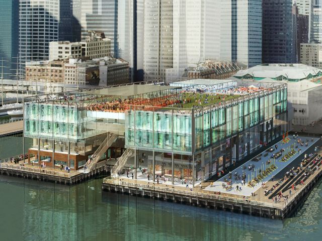 <p>Howard Hughes Corp. proposed a new all-glass structure for Pier 17.</p>
