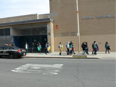 Students from Schomburg Satellite Academy High School staged a walkout on March 9, 2012 to protest the city's plan to move a new charter school into their building.