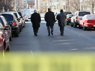 NYPD Detectives at the crime scene on Elton Ave in the South Bronx where Lamont Edwards was shot to death on Mar. 11th, 2012.