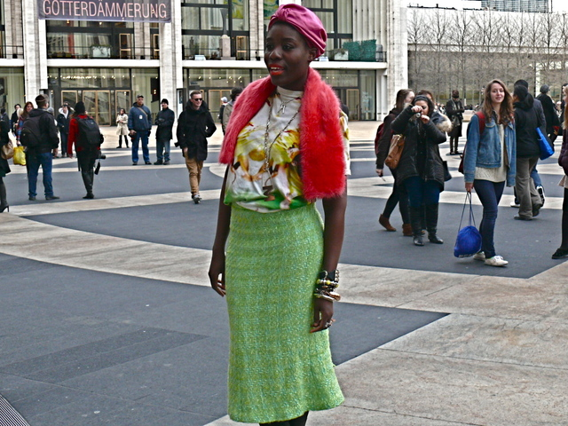Maryanne K's distinctive style in a graphic green and yellow t-shirt and a Linton Tweed pencil skirt.