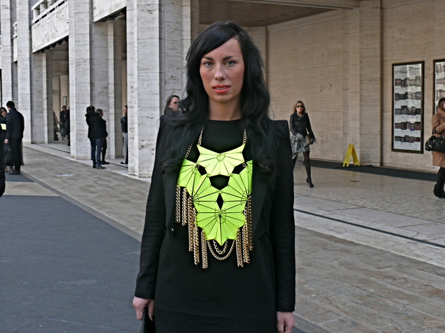 Fashion blogger Julia Lang in an acid statement piece by E.A. Burns.