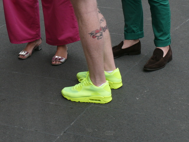 Neon yellow-green athletic shoes, first spotted at September 2011's New York Fashion Week.