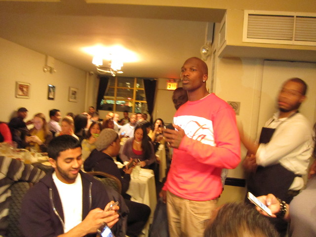 "Chad Ochocinco gave out his cell number to fans and diners at Sylvia's Restaurant. ""Just gave 200 new friends my Droid Razr number. Please excuse the increase in traffic to my device. Sincerely: ""The Black Guy,"""" he tweeted."