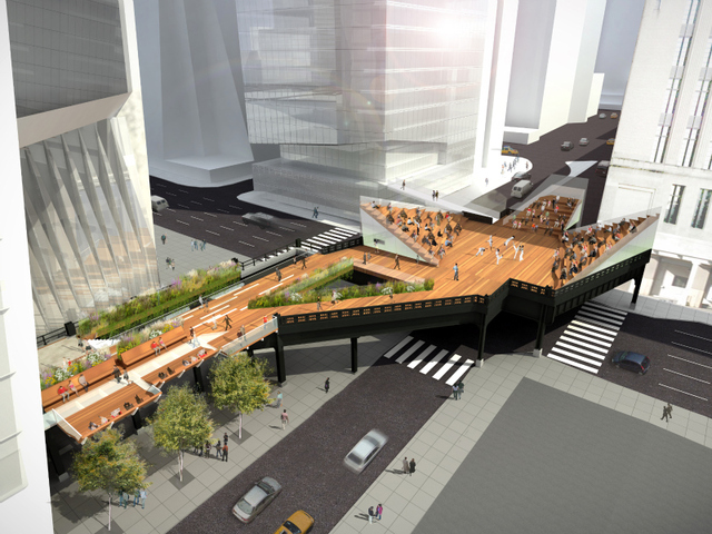 The so-called 'spur' over 10th Avenue will feature theater-style seating for performances.
