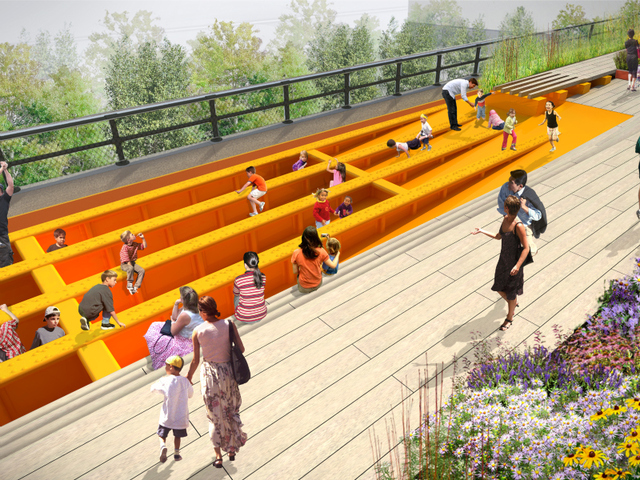 The High Line's concrete deck is removed, revealing the framework of the High Line's original beams and girders, covered with a thick rubber safety coating, and transformed into a play area for kids.