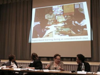 Longtime Schomburg teachers Iris Clarke and Carol Kennedy presented a detailed PowerPoint slideshow, complete with photos and graphs, to make their case against the co-location proposal.