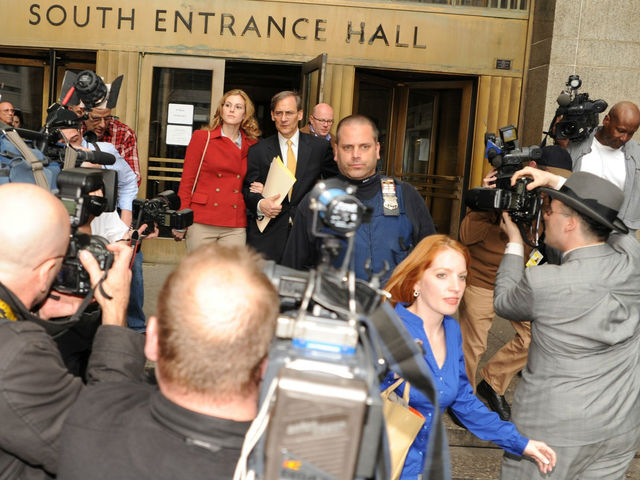 Jaynie Mae Baker leaves Manhattan Supreme Court.