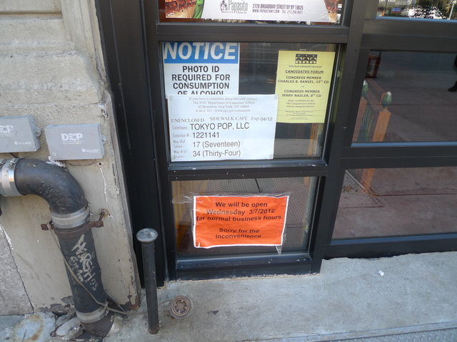 A sign warning patrons that a photo ID is required for the purchase of alcohol appeared in the window of Papasito's after cops closed it down for selling booze to under-age drinkers.