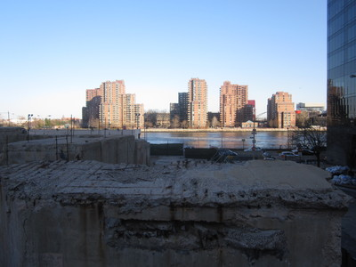 A view of the East River from DSNY's old East 73rd Street garage.