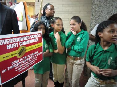 Students at a rally on Thurs., March 15, 2012, to prevent Harlem Success Academy Charter School 2 and 3 from co-locating with  P.S. 208, Alaine L. Locke Magnet School for Environmental Stewardship.