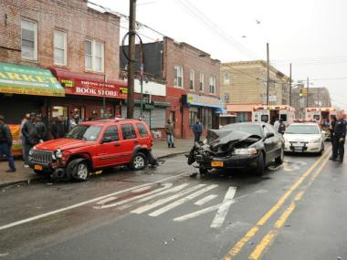 Six people were injured in a three-car crash near the intersection of Church and Albany avenues in Flatbush, Brooklyn, on Fri., March 16, 2012.