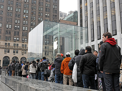 New Yorkers lined up to purchase the iPhone 3 March 16, 2012.